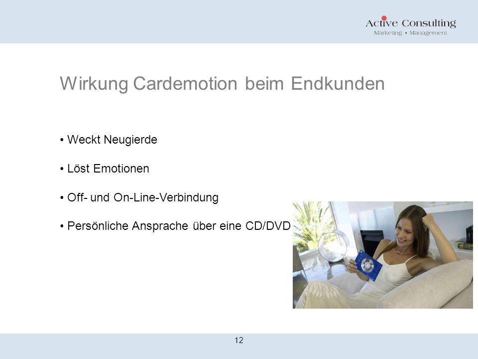 Wirkung Cardemotion beim Endkunden 12 Weckt Neugierde Löst Emotionen Off- und On-Line-Verbindung Persönliche Ansprache über eine CD/DVD