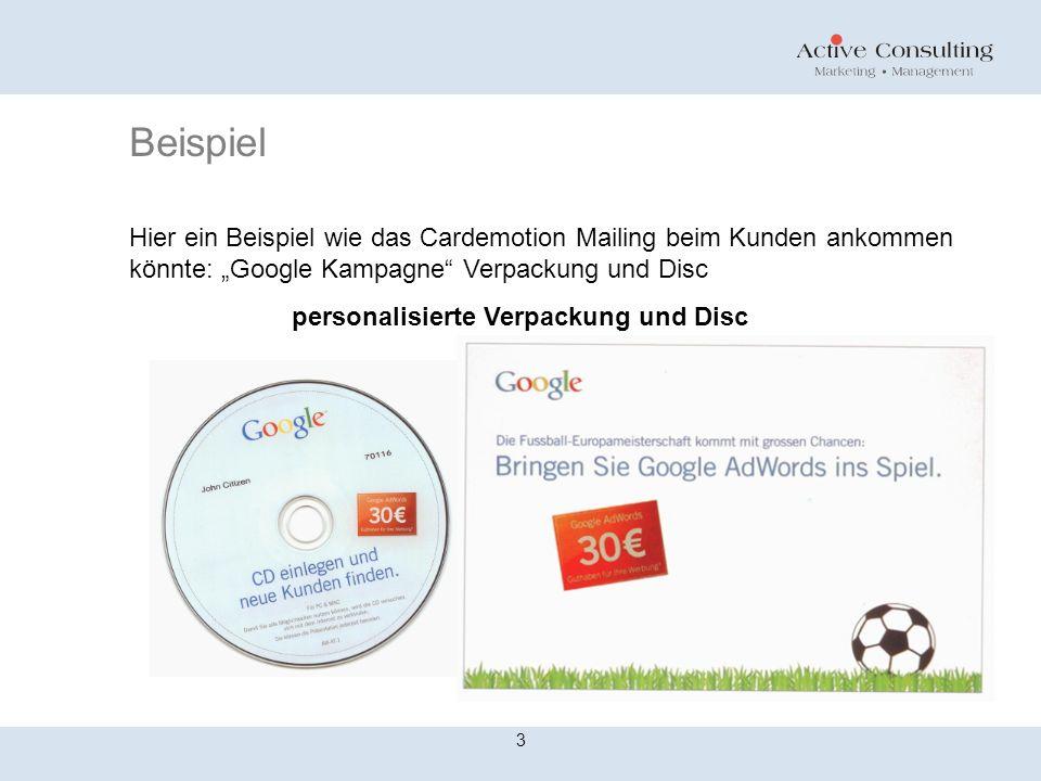 Beispiel 3 Hier ein Beispiel wie das Cardemotion Mailing beim Kunden ankommen könnte: Google Kampagne Verpackung und Disc personalisierte Verpackung u
