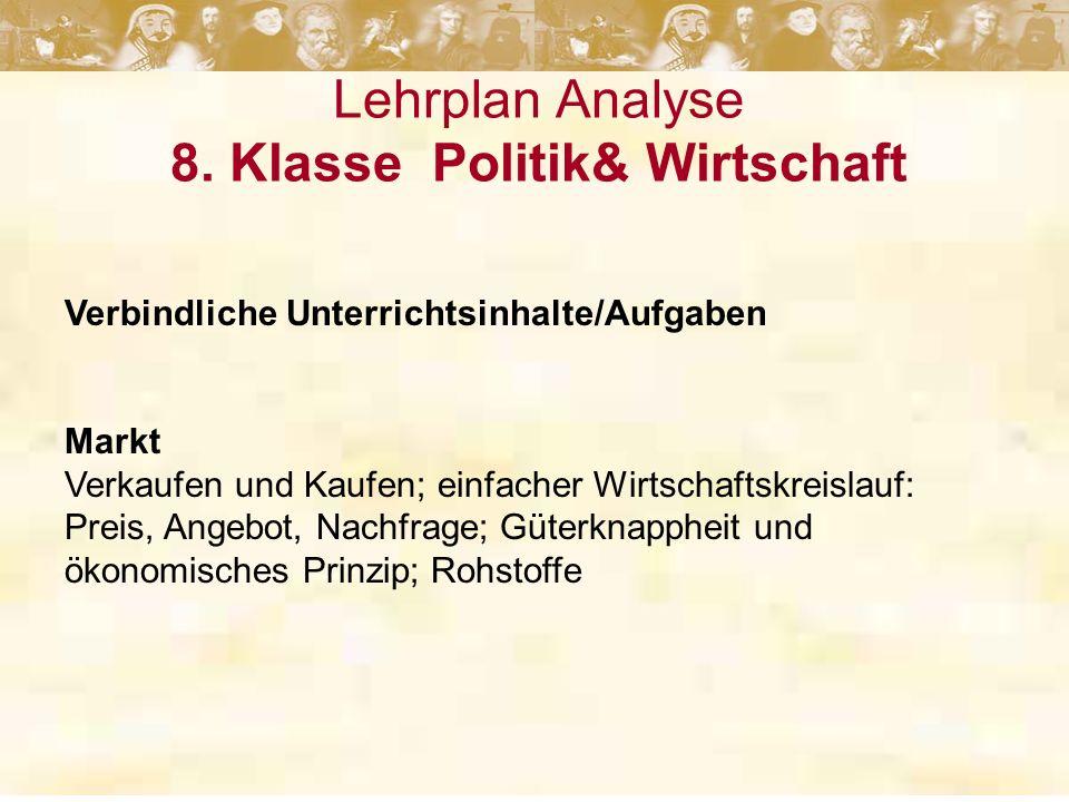 Lehrplan Analyse 8. Klasse Politik& Wirtschaft Verbindliche Unterrichtsinhalte/Aufgaben Markt Verkaufen und Kaufen; einfacher Wirtschaftskreislauf: Pr