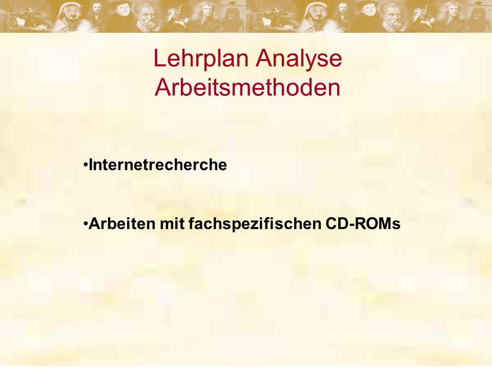 Lehrplan Analyse Arbeitsmethoden Internetrecherche Arbeiten mit fachspezifischen CD-ROMs
