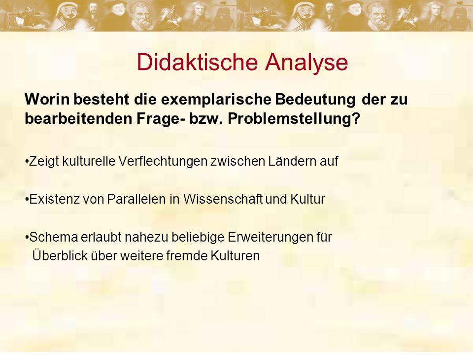 Didaktische Analyse Worin besteht die exemplarische Bedeutung der zu bearbeitenden Frage- bzw.
