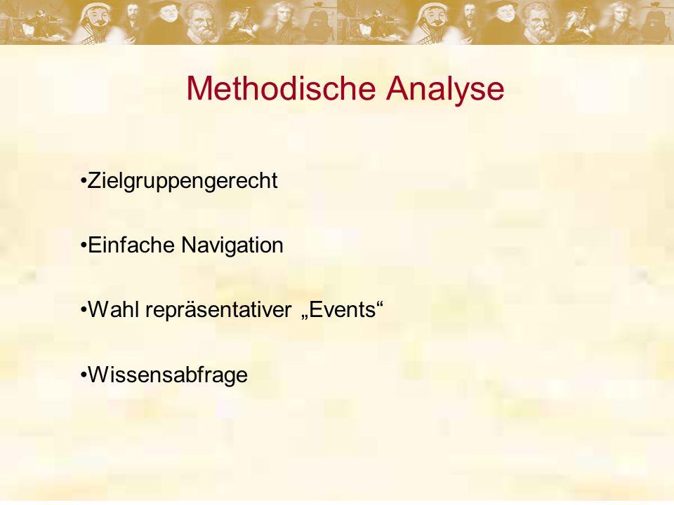 Methodische Analyse Zielgruppengerecht Einfache Navigation Wahl repräsentativer Events Wissensabfrage