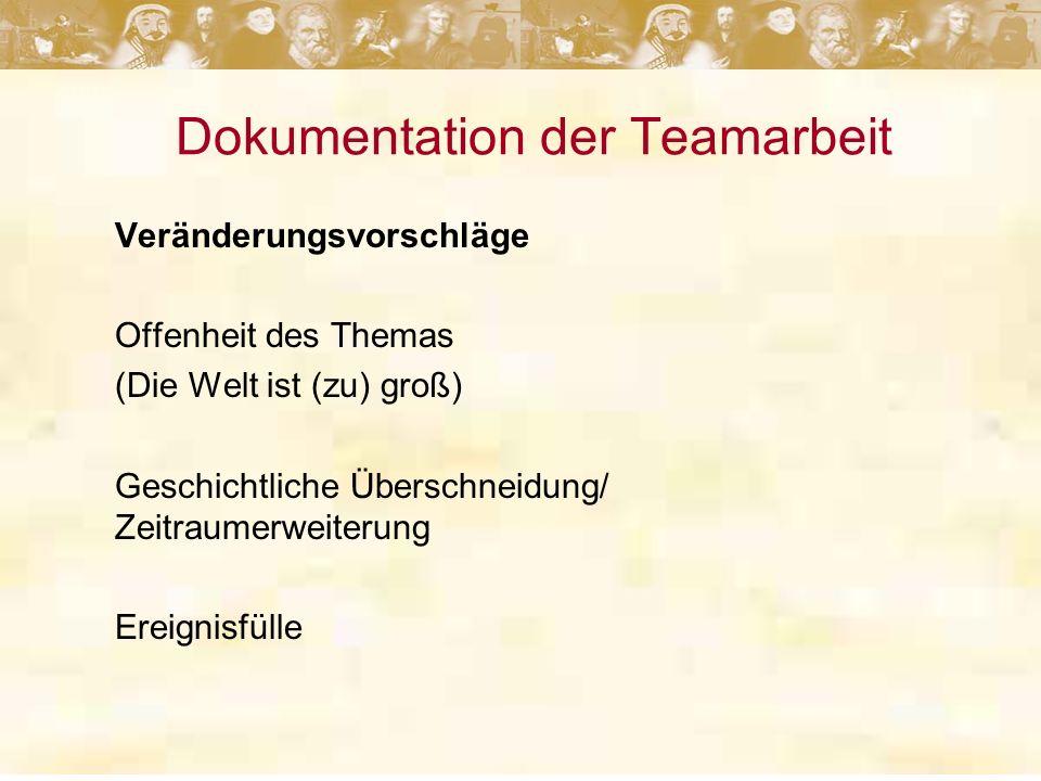 Dokumentation der Teamarbeit Veränderungsvorschläge Offenheit des Themas (Die Welt ist (zu) groß) Geschichtliche Überschneidung/ Zeitraumerweiterung Ereignisfülle