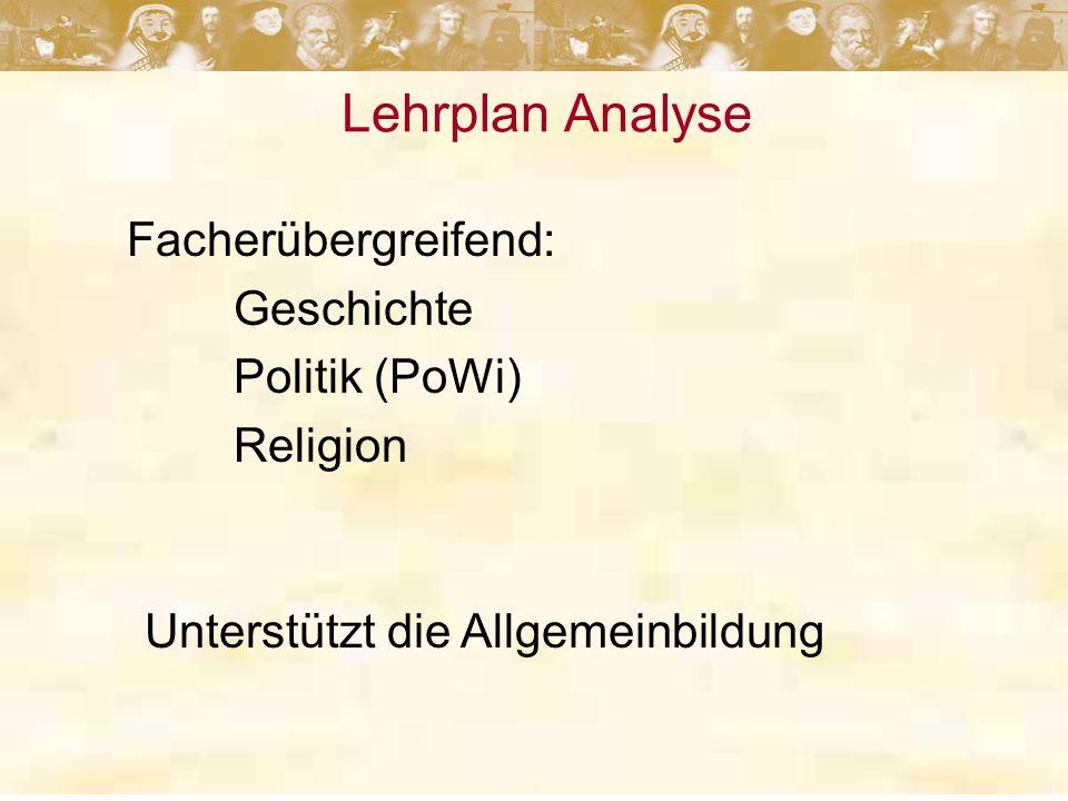 Lehrplan Analyse Facherübergreifend: Geschichte Politik (PoWi) Religion Unterstützt die Allgemeinbildung