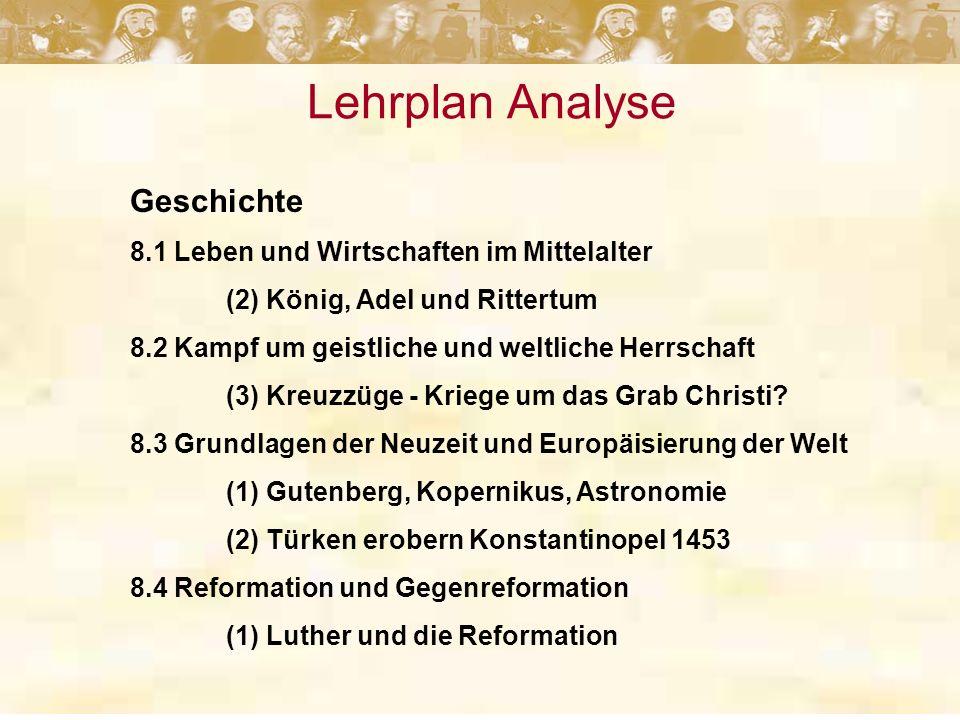 Lehrplan Analyse Geschichte 8.1 Leben und Wirtschaften im Mittelalter (2) König, Adel und Rittertum 8.2 Kampf um geistliche und weltliche Herrschaft (