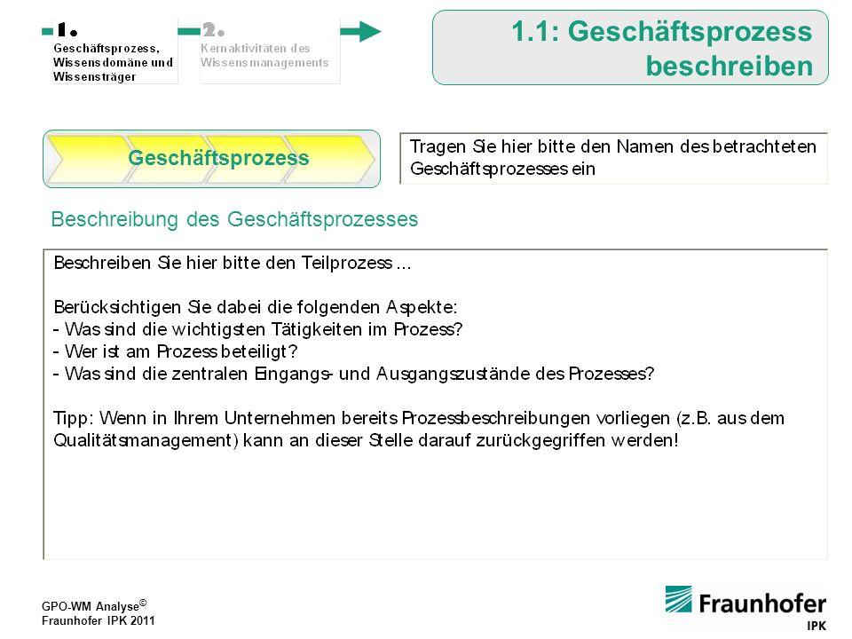 GPO-WM Analyse © Fraunhofer IPK 2011 GPO-WM Analyse © Fraunhofer IPK 2011 1.1: Geschäftsprozess beschreiben Beschreibung des Geschäftsprozesses Geschäftsprozess