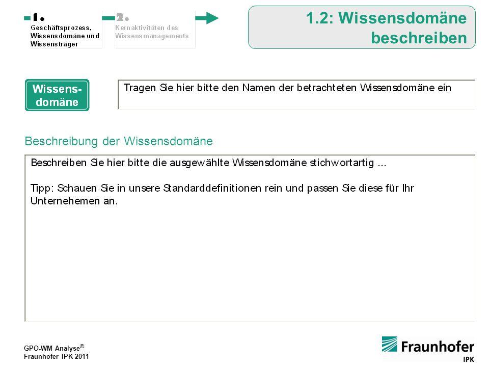 GPO-WM Analyse © Fraunhofer IPK 2011 GPO-WM Analyse © Fraunhofer IPK 2011 Auf welche Wissensträger ist das relevante Wissen der Domäne verteilt.