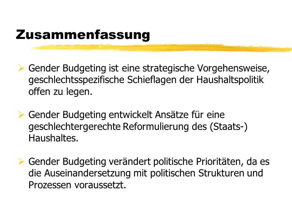Zusammenfassung Gender Budgeting ist eine strategische Vorgehensweise, geschlechtsspezifische Schieflagen der Haushaltspolitik offen zu legen. Gender