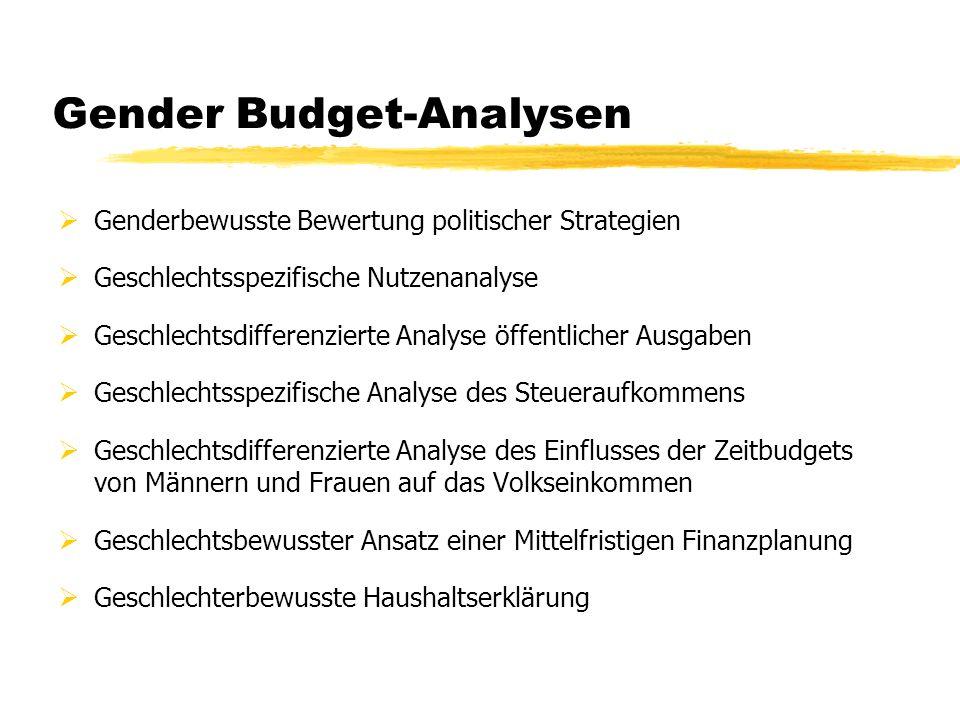 Gender Budget-Analysen Genderbewusste Bewertung politischer Strategien Geschlechtsspezifische Nutzenanalyse Geschlechtsdifferenzierte Analyse öffentli