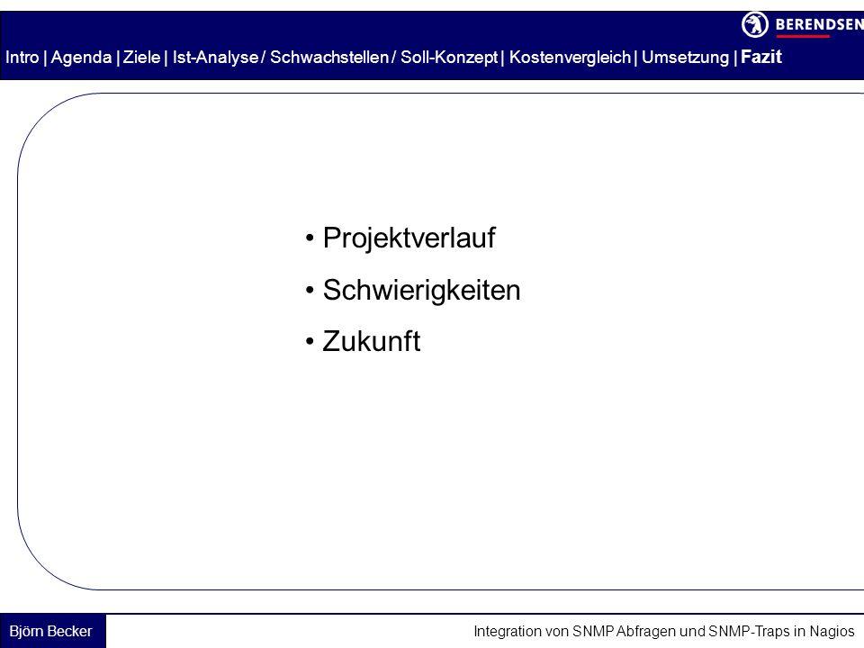 Björn Becker Integration von SNMP Abfragen und SNMP-Traps in Nagios Intro | Agenda | Ziele | Ist-Analyse / Schwachstellen / Soll-Konzept | Kostenvergleich | Umsetzung | Fazit Projektverlauf Schwierigkeiten Zukunft