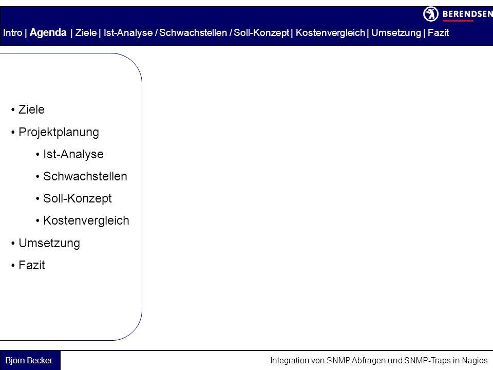 Björn Becker Integration von SNMP Abfragen und SNMP-Traps in Nagios Intro | Agenda | Ziele | Ist-Analyse / Schwachstellen / Soll-Konzept | Kostenvergleich | Umsetzung | Fazit Ziele Projektplanung Ist-Analyse Schwachstellen Soll-Konzept Kostenvergleich Umsetzung Fazit