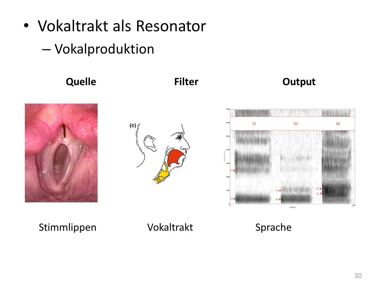 Resonanzfrequenz – je grösser das Objekt desto tiefer f res RauschenResonatorgefiltertes Rauschen QuelleFilter Output 29