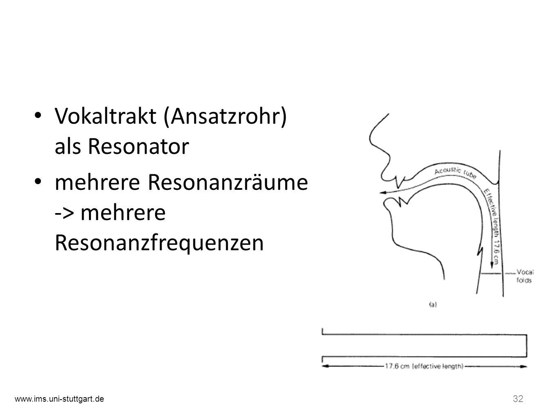 31 Formanten Entstehung einer Lautäusserung - Quelle/Filter-Theorie Larynx (Kehlkopf): Phonation = Erzeugung eines akustischen Signals (Schwingung der