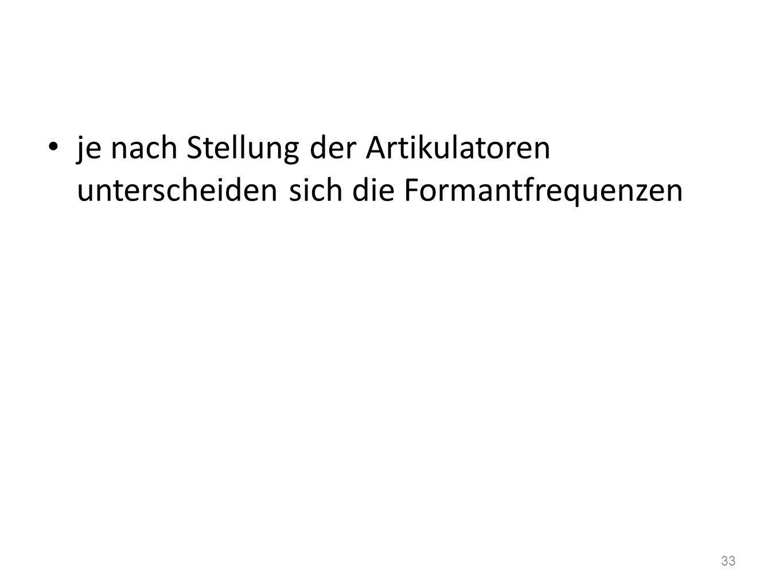 Vokaltrakt (Ansatzrohr) als Resonator mehrere Resonanzräume -> mehrere Resonanzfrequenzen www.ims.uni-stuttgart.de 32