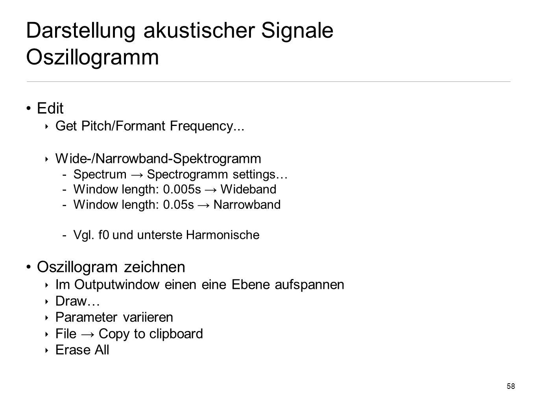 57 Signalvorverarbeitung Normalisierung Zwei Unterschiedlich laute Soundfiles (jutta.wav & kind.wav) Normalisierung: Angleichung der Energie ( Lautstä