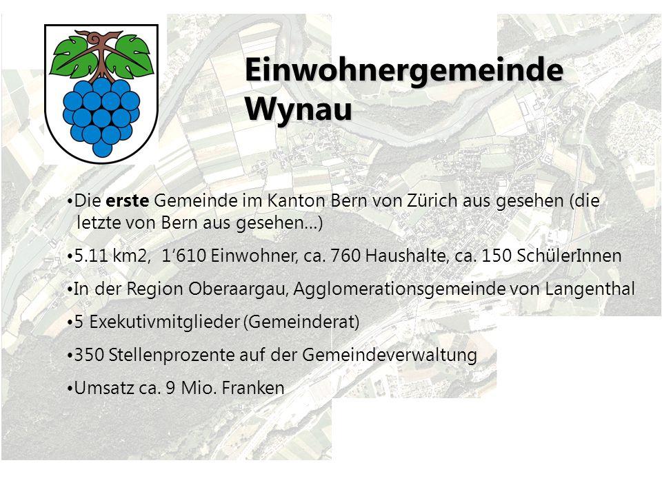 Einwohnergemeinde Wynau Die erste Gemeinde im Kanton Bern von Zürich aus gesehen (die letzte von Bern aus gesehen…) 5.11 km2, 1610 Einwohner, ca.