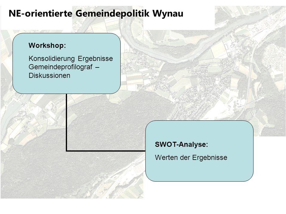 NE-orientierte Gemeindepolitik Wynau Workshop: Konsolidierung Ergebnisse Gemeindeprofilograf – Diskussionen SWOT-Analyse: Werten der Ergebnisse