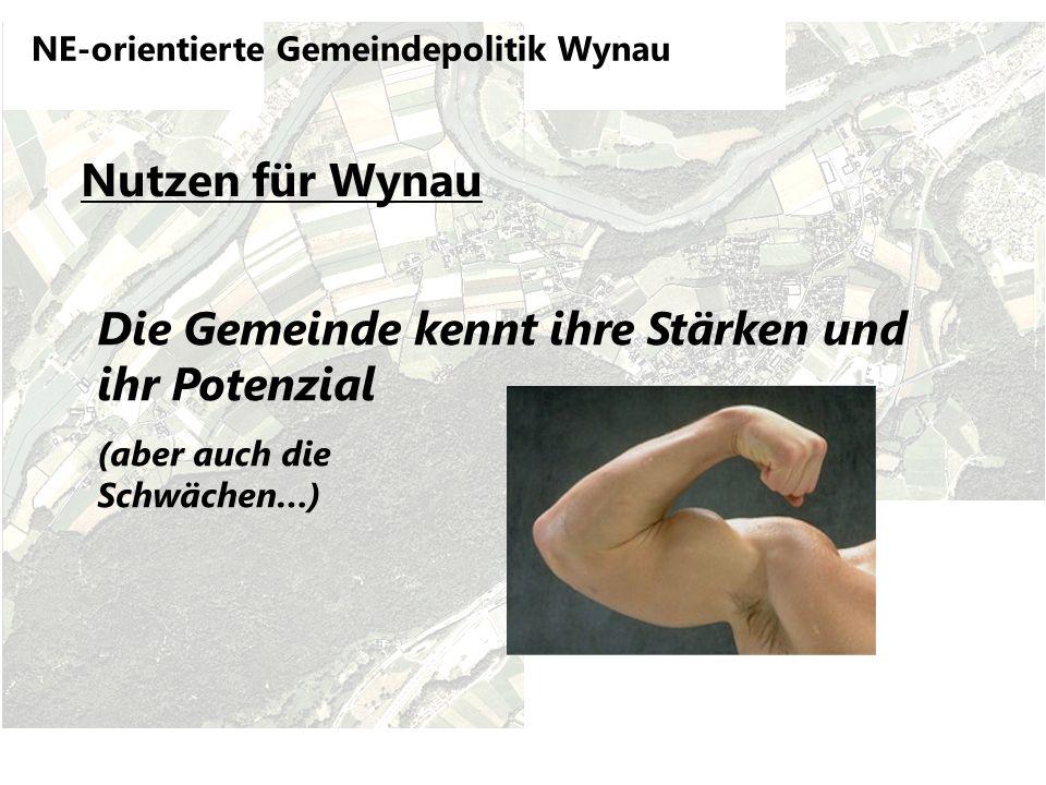 NE-orientierte Gemeindepolitik Wynau Nutzen für Wynau Die Gemeinde kennt ihre Stärken und ihr Potenzial (aber auch die Schwächen…)