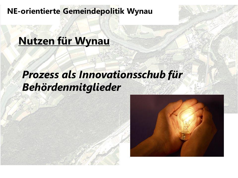 NE-orientierte Gemeindepolitik Wynau Nutzen für Wynau Prozess als Innovationsschub für Behördenmitglieder