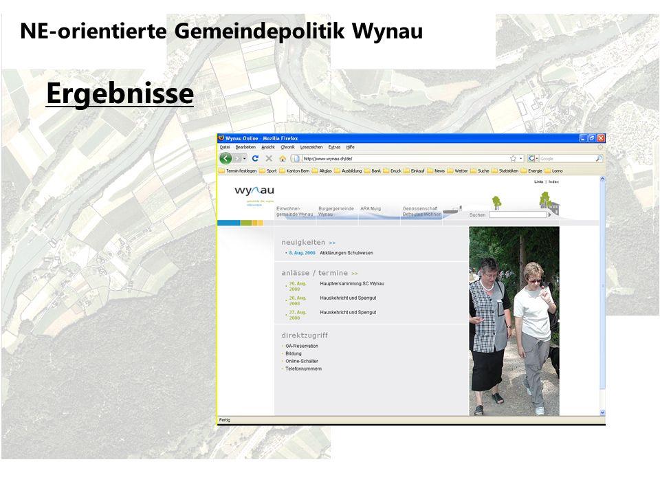 NE-orientierte Gemeindepolitik Wynau Ergebnisse