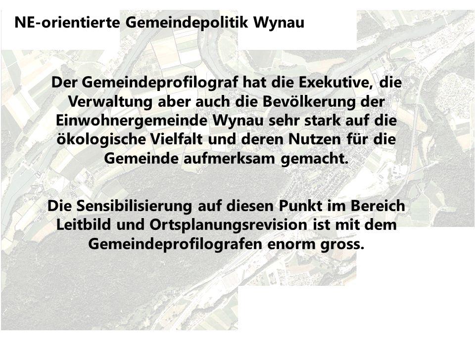 NE-orientierte Gemeindepolitik Wynau Der Gemeindeprofilograf hat die Exekutive, die Verwaltung aber auch die Bevölkerung der Einwohnergemeinde Wynau sehr stark auf die ökologische Vielfalt und deren Nutzen für die Gemeinde aufmerksam gemacht.