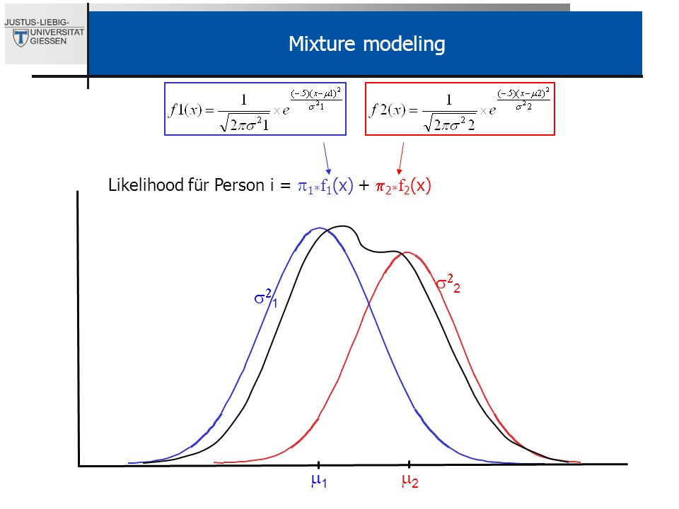 2 1 Mixture modeling Likelihood für Person i = 1* f 1 (x) + 2* f 2 (x) 1 2