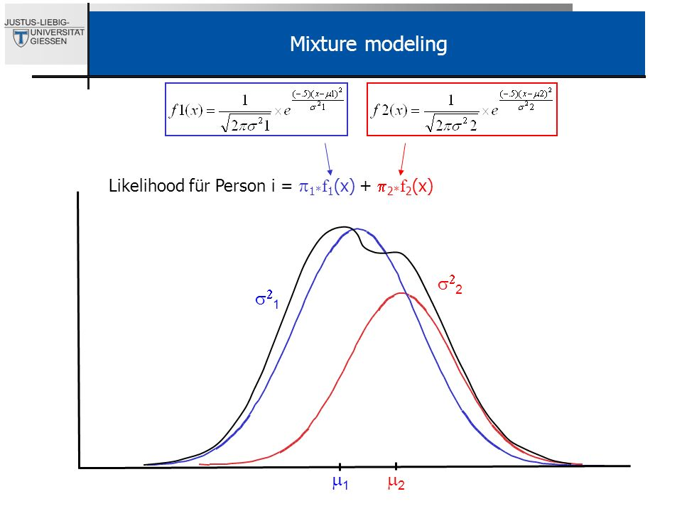 2 1 1 2 Mixture modeling Likelihood für Person i = 1* f 1 (x) + 2* f 2 (x)