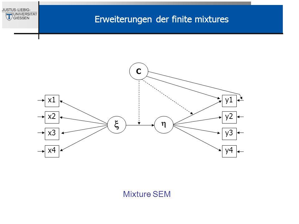 Erweiterungen der finite mixtures Mixture SEM y1 y2 y3 y4 x1 x2 x3 x4 C