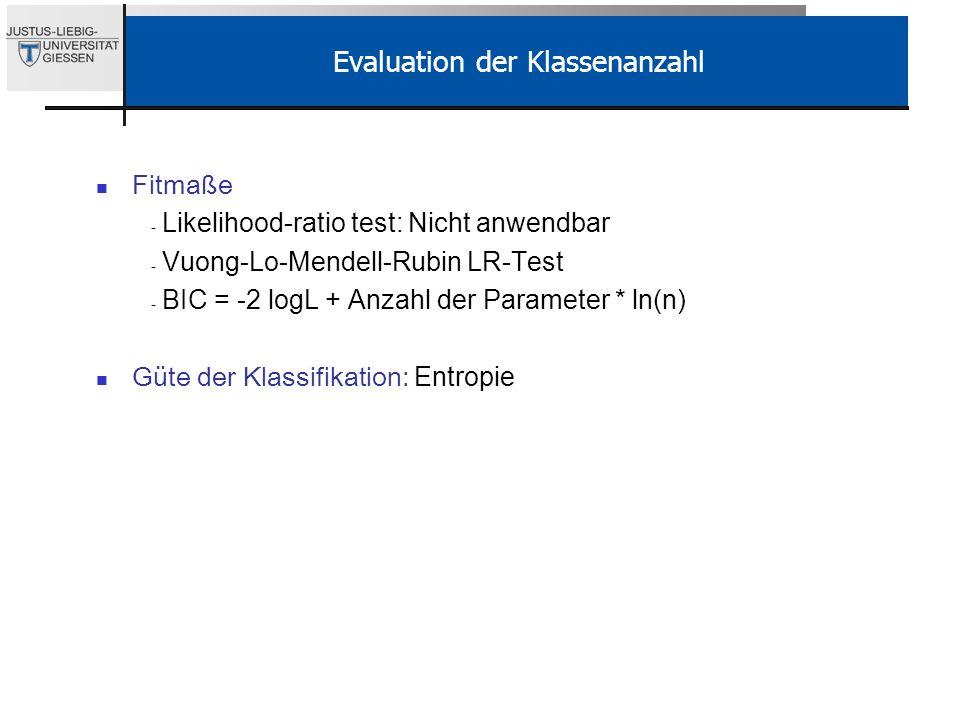 Evaluation der Klassenanzahl Fitmaße - Likelihood-ratio test: Nicht anwendbar - Vuong-Lo-Mendell-Rubin LR-Test - BIC = -2 logL + Anzahl der Parameter