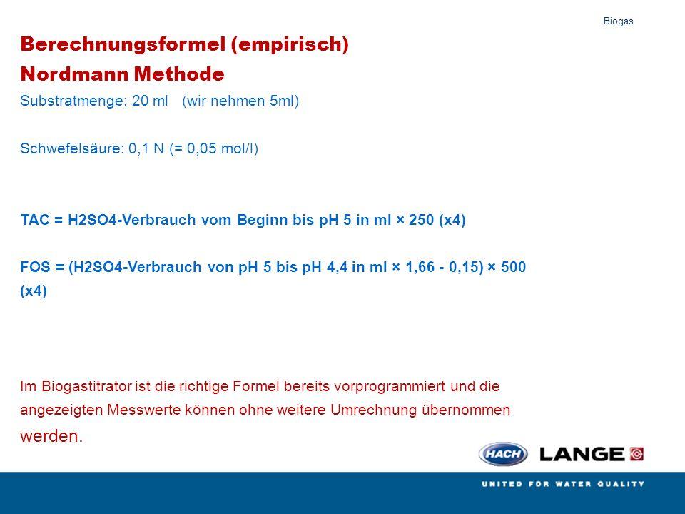 Biogas Berechnungsformel (empirisch) Nordmann Methode Substratmenge: 20 ml (wir nehmen 5ml) Schwefelsäure: 0,1 N (= 0,05 mol/l) TAC = H2SO4-Verbrauch