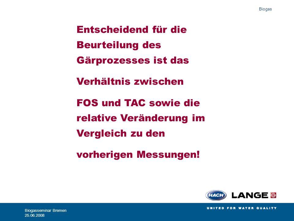 Biogas Biogasseminar Bremen 25.06.2008 Entscheidend für die Beurteilung des Gärprozesses ist das Verhältnis zwischen FOS und TAC sowie die relative Ve