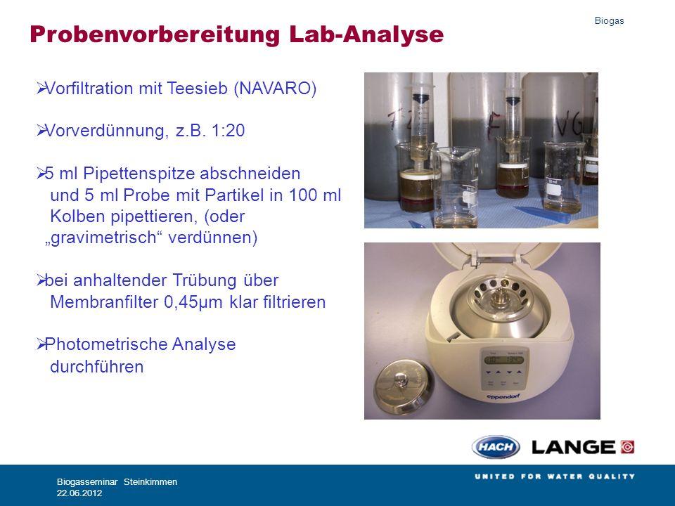 Biogas Biogasseminar Steinkimmen 22.06.2012 Probenvorbereitung Lab-Analyse Vorfiltration mit Teesieb (NAVARO) Vorverdünnung, z.B. 1:20 5 ml Pipettensp