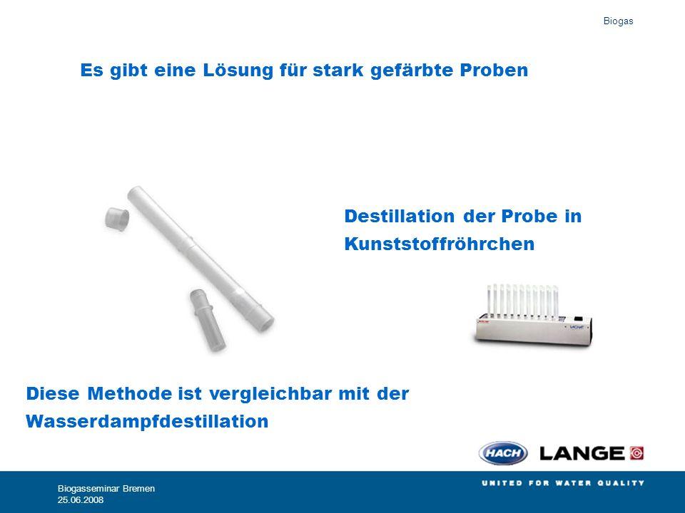 Biogas Biogasseminar Bremen 25.06.2008 Es gibt eine Lösung für stark gefärbte Proben Destillation der Probe in Kunststoffröhrchen Diese Methode ist ve