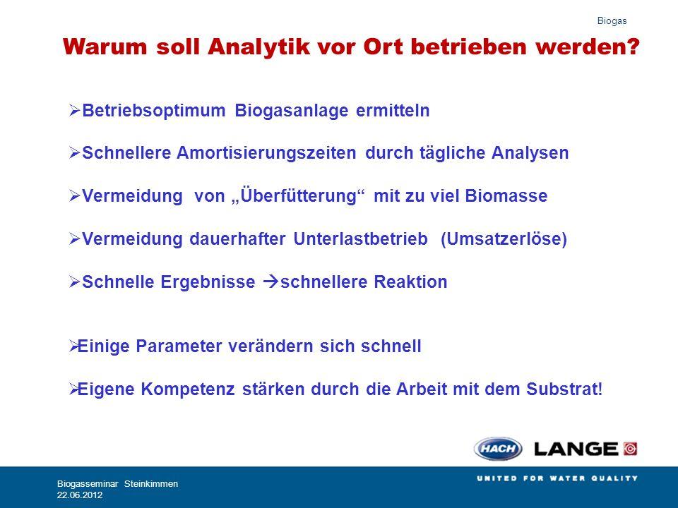 Biogas Biogasseminar Steinkimmen 22.06.2012 Wichtige Leitparameter für die Prozessoptimierung FOS/TAC (Photometrisch/Titrimetrisch) Organische Säuren: (Photometrisch/Titrimetrisch) Säurekapazität (Kalkreserve): (Photometrisch/Titrimetrisch) Ammonium:(Photometrisch) CSB: (Photometrisch)