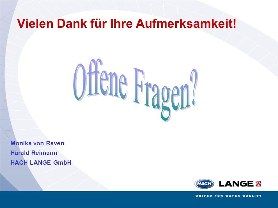 Biogas Biogasseminar Bremen 25.06.2008 Vielen Dank für Ihre Aufmerksamkeit! Monika von Raven Harald Reimann HACH LANGE GmbH