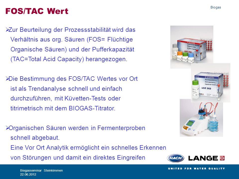 Biogas Biogasseminar Steinkimmen 22.06.2012 FOS/TAC Wert Zur Beurteilung der Prozessstabilität wird das Verhältnis aus org. Säuren (FOS= Flüchtige Org