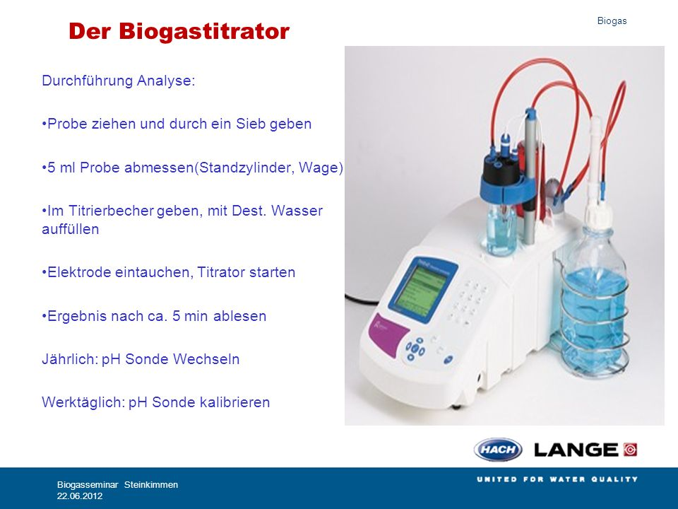 Biogas Berechnungsformel (empirisch) Nordmann Methode Substratmenge: 20 ml (wir nehmen 5ml) Schwefelsäure: 0,1 N (= 0,05 mol/l) TAC = H2SO4-Verbrauch vom Beginn bis pH 5 in ml × 250 (x4) FOS = (H2SO4-Verbrauch von pH 5 bis pH 4,4 in ml × 1,66 - 0,15) × 500 (x4) Im Biogastitrator ist die richtige Formel bereits vorprogrammiert und die angezeigten Messwerte können ohne weitere Umrechnung übernommen werden.