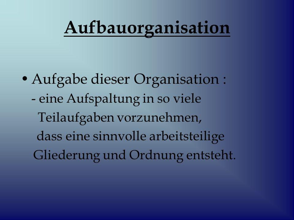 Aufbauorganisation 1.Aufgabe ist also die Analyse 2.