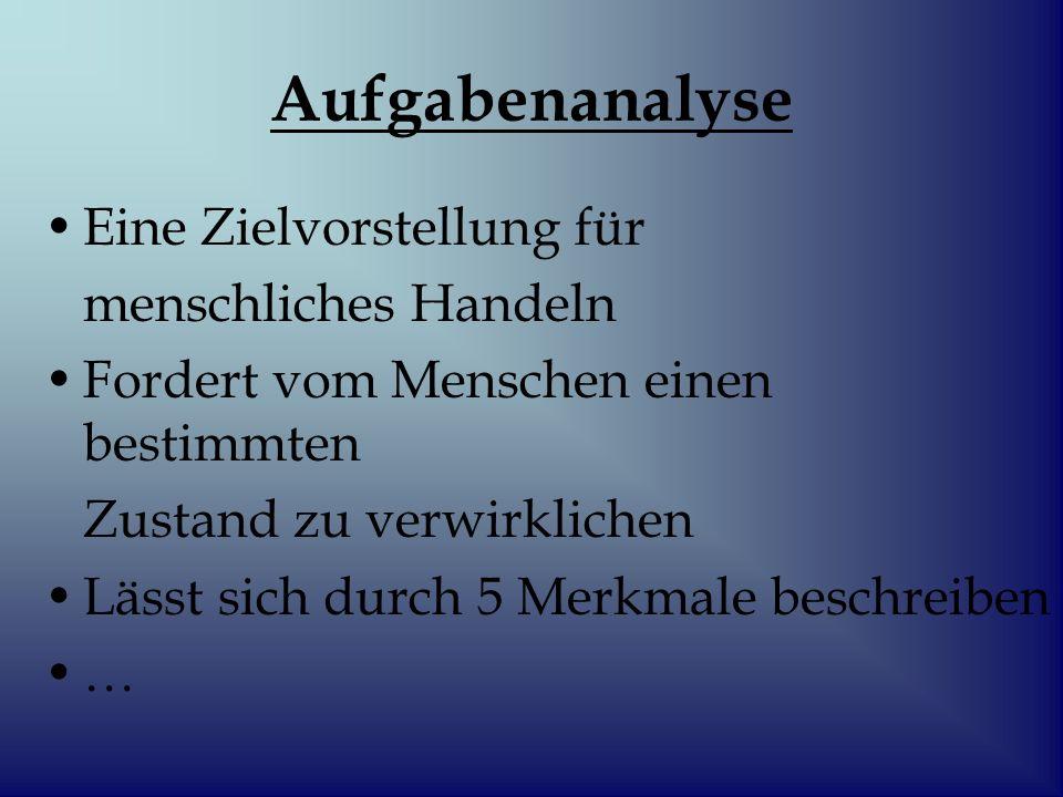 Merkmale der Analyse 1.Durch ihren Verrichtungsvorgang Manuell oder geistig 2.