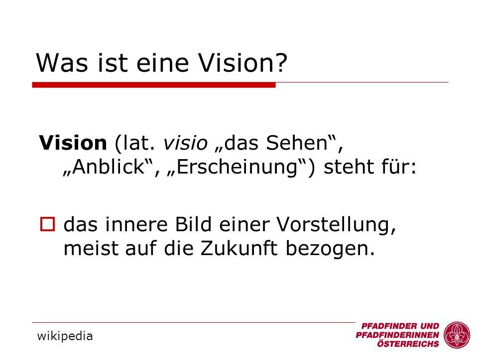 Vision (lat. visio das Sehen, Anblick, Erscheinung) steht für: das innere Bild einer Vorstellung, meist auf die Zukunft bezogen. Was ist eine Vision?