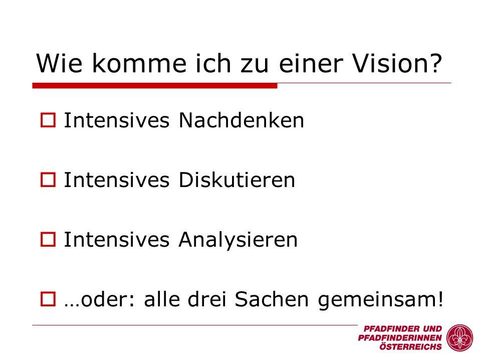 Intensives Nachdenken Intensives Diskutieren Intensives Analysieren …oder: alle drei Sachen gemeinsam! Wie komme ich zu einer Vision?