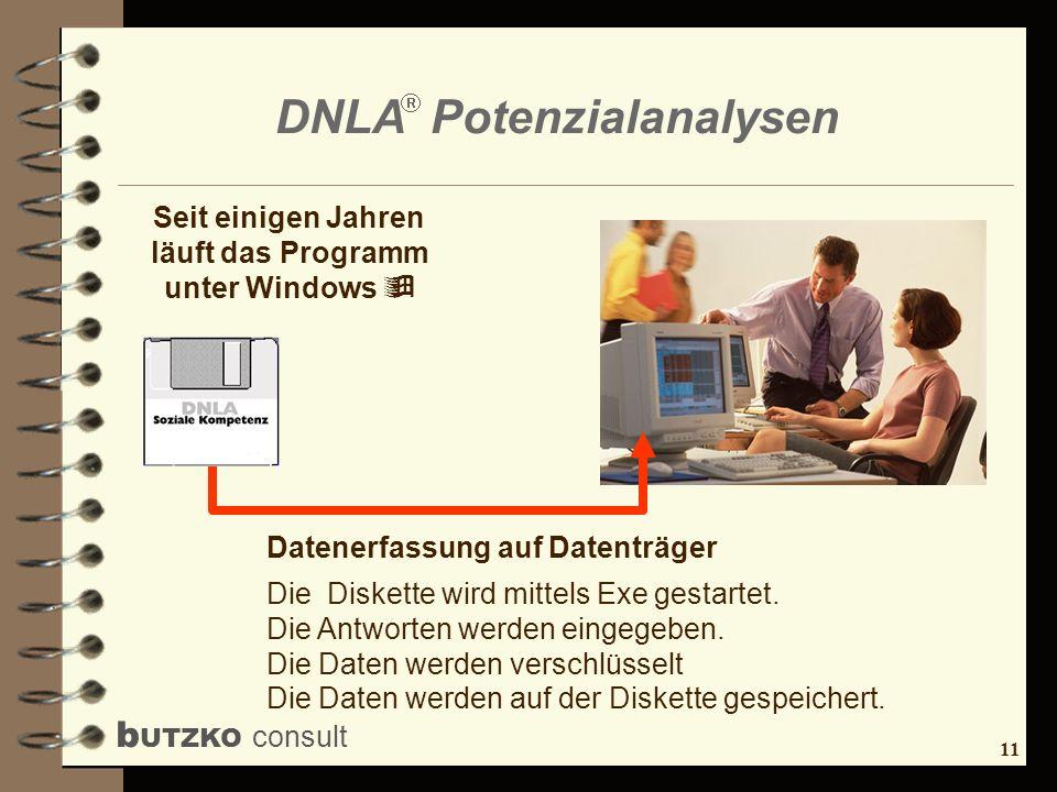 11 b UTZKO consult DNLA Potenzialanalysen Datenerfassung auf Datenträger Die Diskette wird mittels Exe gestartet. Die Antworten werden eingegeben. Die