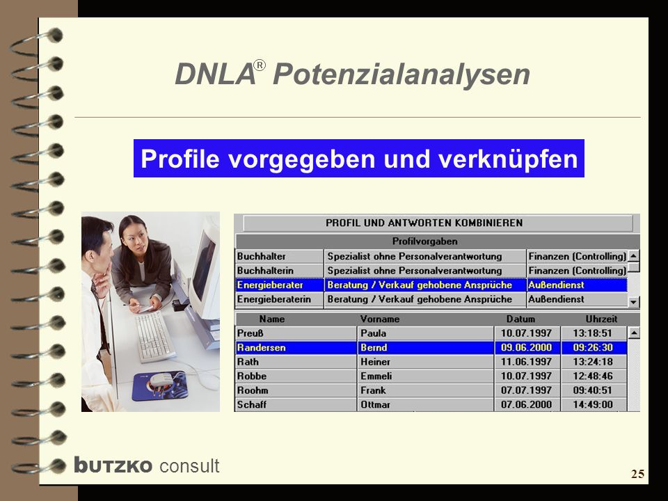 25 b UTZKO consult DNLA Potenzialanalysen Profile vorgegeben und verknüpfen