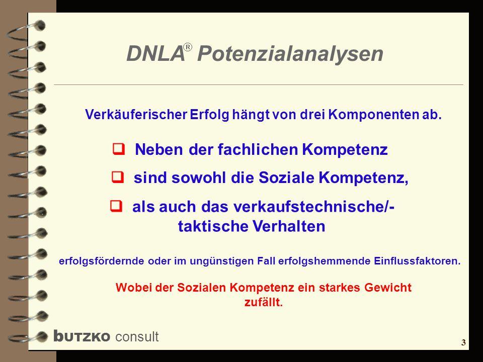 3 b UTZKO consult DNLA Potenzialanalysen Wobei der Sozialen Kompetenz ein starkes Gewicht zufällt. Verkäuferischer Erfolg hängt von drei Komponenten a
