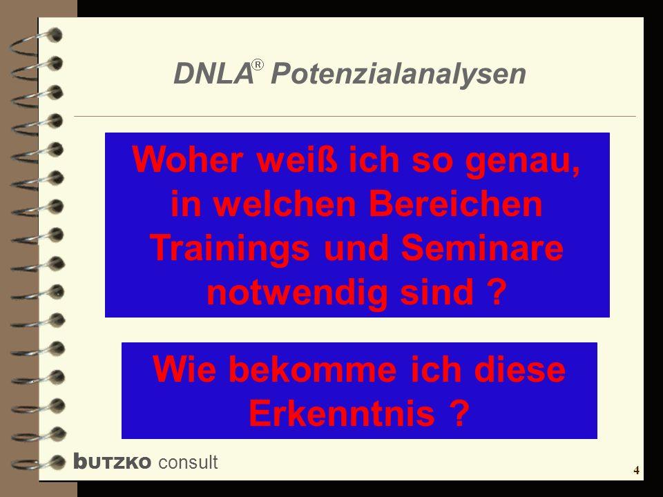 4 b UTZKO consult DNLA Potenzialanalysen Woher weiß ich so genau, in welchen Bereichen Trainings und Seminare notwendig sind ? Wie bekomme ich diese E