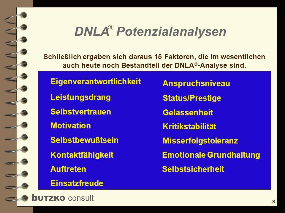 8 b UTZKO consult DNLA Potenzialanalysen Eigenverantwortlichkeit Leistungsdrang Selbstvertrauen Motivation Selbstbewußtsein Kontaktfähigkeit Auftreten