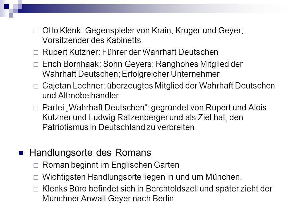 Otto Klenk: Gegenspieler von Krain, Krüger und Geyer; Vorsitzender des Kabinetts Rupert Kutzner: Führer der Wahrhaft Deutschen Erich Bornhaak: Sohn Ge
