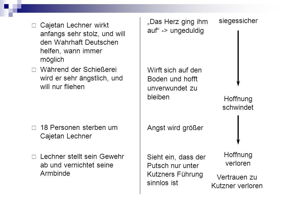 Cajetan Lechner wirkt anfangs sehr stolz, und will den Wahrhaft Deutschen helfen, wann immer möglich Während der Schießerei wird er sehr ängstlich, un