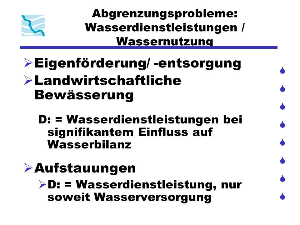 Abgrenzungsprobleme: Wasserdienstleistungen / Wassernutzung Eigenförderung/ -entsorgung Landwirtschaftliche Bewässerung D: = Wasserdienstleistungen be