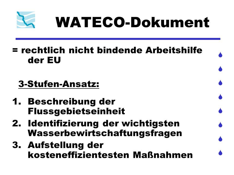 WATECO-Dokument = rechtlich nicht bindende Arbeitshilfe der EU 3-Stufen-Ansatz: 1.Beschreibung der Flussgebietseinheit 2.Identifizierung der wichtigst